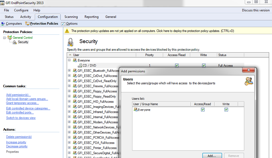 GFI EndPointSecurity screenshot